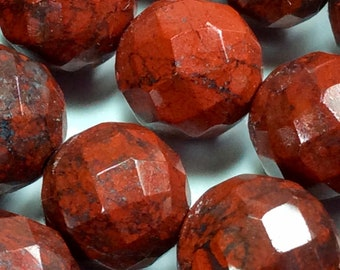 """Natural Brecciated  Jasper, Poppy Jasper. Faceted Round Beads, 6mm or 8mm, 15"""" Strands , 1.5mm hole, Jewelry  Making, Sold per Strand."""
