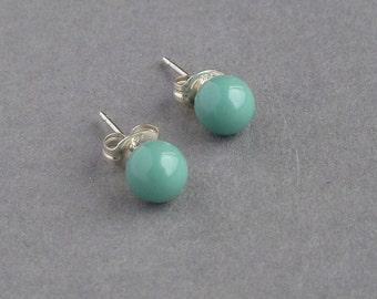 Aqua Stud Earrings - Mint Swarovski Pearl Post Earrings - Robin Egg Bridesmaid Jewelry - Turquoise Bridesmaids Gifts - Pearl Studs - Wedding