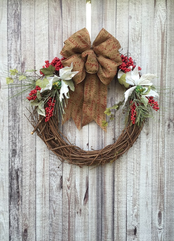 Christmas Door Decoration Rustic Wreath Holiday