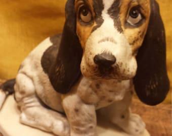 Vintage Homco 1983 Dog Statue Masterpiece Porcelain Collection, Vintage Beagle Or Hound Dog Puppy, Dog Lover Art Statue