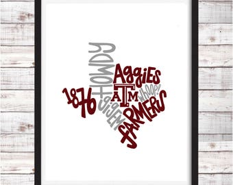 Texas A and M | Aggies | Printable Art | College Student Gift | College Graduation | Dorm Room Decor | Wall Art | Wall Decor
