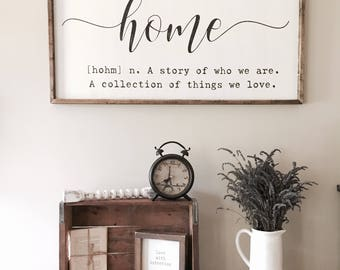 Home definition sign, home quote sign, home sign, A story of us sign, farmhouse wall decor, large framed wood sign,