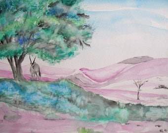 Oryx desert purple and green watercolor