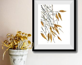 Falling Leaves art Print, Watercolor painting, dried leaves print, wall decor, nature art, Autumn print, Mustard black, modern art