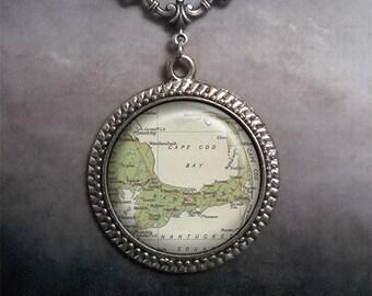 Cape Cod map necklace, Cape Cod pendant necklace, map jewelry, Cape Cod necklace, vintage map jewelry, map jewellery map charm