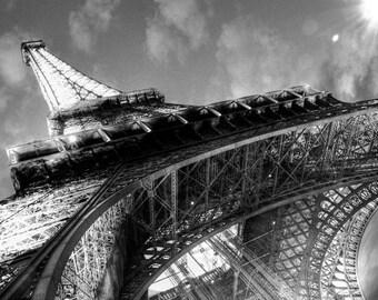 PARIS EIFFEL TOWER Black and White Photographic Photo Paris France Print