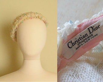 Christian Dior Beaded Beret | 1950's Creme and Pastel Chapeaux