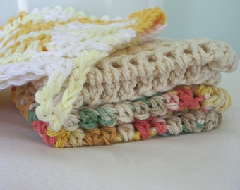 Cotton Crocheted Dishcloths - Set Of Three Sunshiney Cloths - 100% Cotton