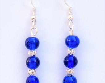 Green Glass Drop Earrings with Sterling Silver Hooks LB102