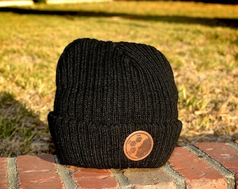 Leather Patch Black Beanie