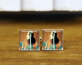 japanese kabuki cufflinks, cool oriental swordsman actor cuff links, custom wedding cufflinks, round, square cufflinks, tie clips, or set