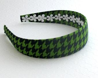 Headband for Adults, Women, Girls ~ Navy Blue & Green Hounds Tooth Fabric Covered Hard Plastic Headband