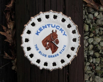 Kentucky The Blue Grass State Souvenir State Plate Vintage Decorative Horses