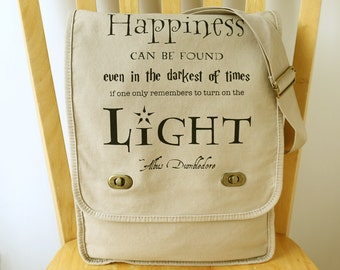 Harry Potter Messenger Bag Canvas Laptop Bag with Quote