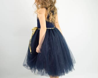 Navy Blue Tutu Dress with stretch crochet top. Flower girl tulle dress
