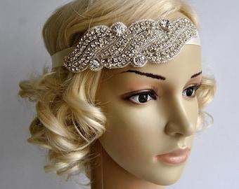 Wedding Headpiece, Bridal Headband, Rhinestone Headband, Fascinator, Wedding Hair Accessory, Ribbon Bridal Headband, prom, bridesmaid gift