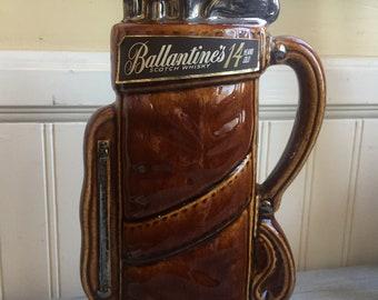 "Vintage Ballantine Scotch Whiskey ""Golf Clubs"" Decanter"