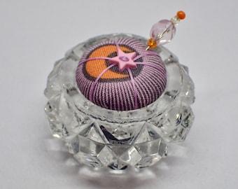 Salt Cellar Pincushion - Tula Pink Fabric - Moon and Star - Saltcellar
