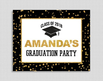 Personalized Graduation Party Sign, Black & Gold Glitter Confetti Sign, Custom Made Graduation Sign, 8x10 inches, DIY PRINTABLE