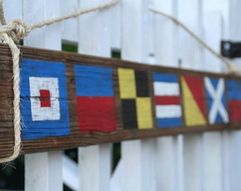 "Custom Nautical Flag Sign- Reclaimed Wood Sign- ""Welcome"" or Last Name of 7, 8, or 9 letters- Nautical Wall Decor"