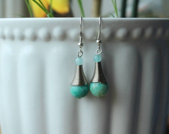 Amazonite Gemstone Spiral Cone Drop Earrings