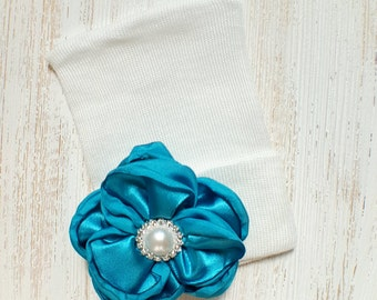 Baby girl newborn hat with Turquoise satin flower- newborn hospital hat, newborn beanie, baby girl newborn, baby hat, baby shower gift