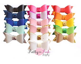 Leather with GLITTER CENTER Bows- Hair Bows- Headbands- DIY Flowers and Bows- Supply Shop- PrettyinPinkSupply