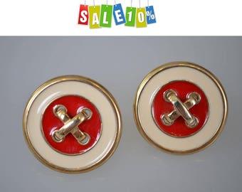 French designer vintage Clip On Earrings buttons enamel