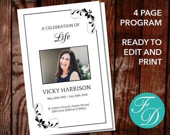 Celebration Of Life Program Etsy - Funeral pamphlet template