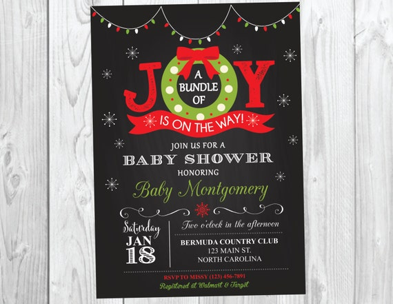 Holiday Christmas Baby Shower Invitation - Festive Bundle of Joy Christmas Snowflake Baby Shower Invite - Boy or Girl #041