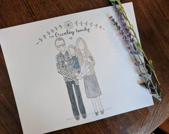 Custom Watercolor Family Portrait, Personalized Portrait, Watercolor, 8x10