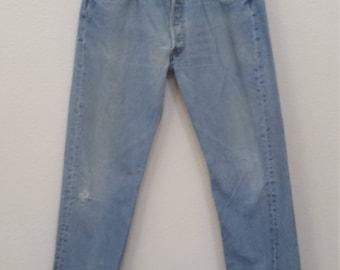 60s Vintage blue denim Levis 501 jeans 34x32 mod rockabilly