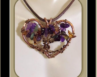 wife gift, - February birthday - Amethyst jewelry - Heart jewelry - girlfriend gift,Mother gift, daughter gift