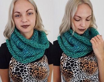 Handknit Handmade Green Blue Circle Scarf - Boho Hipster Art Fashion Womens Accessory - Soft Teal Warm Fall Winter Upcycled Yarn Cowl Scarf