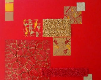 """Abstract painting red, gold gilt """"Sirius"""""""