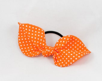 Orange Polka Dot Top Knot Hair Bow - hair ties/hair accessories/ponytail holder/hair band/handmade/gifts for her/mothers day gift/kawaii