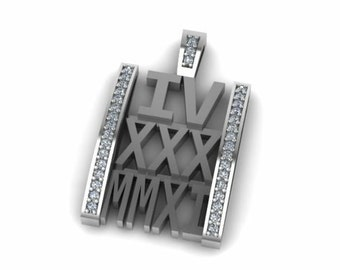 Anniversary Necklace with date in Roman numerals and diamonds pendant