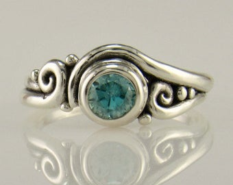 R1039- Sterling Silver Blue Zircon Ring- One of a Kind Blue Zircon Ring