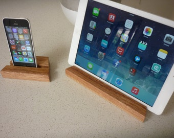 iPhone 5 / 6 / 7 stand Plus iPad stand....2 Solid Victorian Ash timber Universal size stands hand made