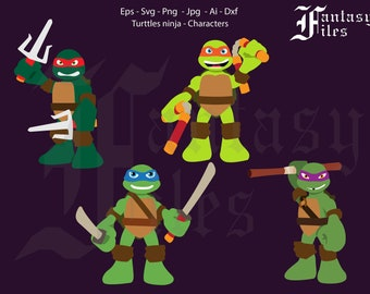 Turtles Ninja Characters, Vector. svg/png/jpg/eps/ai/dxf. Instant DOWNLOAD