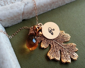 Golden Autumn Leaf, Citrine AND gold letter initial necklace, Real oak Leaf, Custom Stone