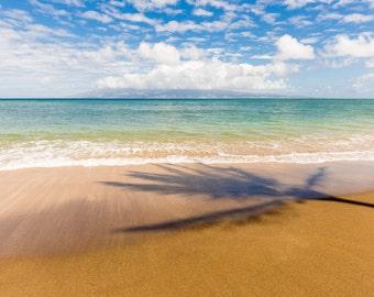 Palm Tree on Hawaiian Beach Surf Photography Decor Print, Ocean, Hawaii, Maui, Oahu, Kauai, Tropical, Hawaiian Island, California, Florida