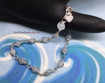 Aquamarine Bracelet, March Birthstone, Argentium Sterling Silver Wire Wrapped, Natural, Light, Pale, Blue Gemstone Bracelet by LoveThemBeads