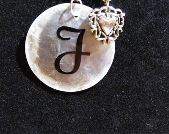 Personalized Shell necklace with heart charm #2