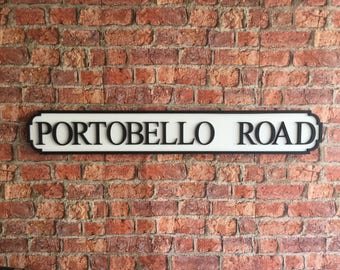 PORTOBELLO ROAD vintage wooden street road sign