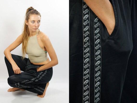 ASICS Tape Track Pants / Asics Tape Joggers / Asics Pants / Vintage Asics Pants / Vintage Track Pants / 90s Tape Pants / Black Asics Pants