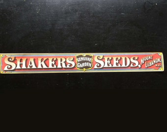 Shaker Seed Box Front Label, Genuine Garden Seeds, Mount Lebanon, N.Y., old reproduction, very accurate