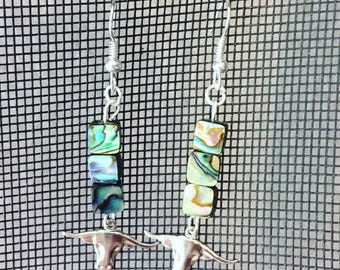 Longhorn and Abalone Earrings