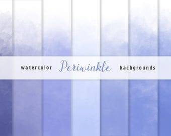 Periwinikle Blue Ombre Watercolor Backgrounds - Ombre Digital Paper