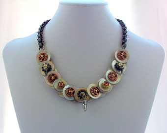 Steampunk Button Necklace Steampunk Jewelry Chain Necklace Mother of Pearl Brass Bronze Silver Jewellery Statement wear